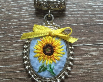 Sunflower with yellow ribbon necklace/embroidery/handmade/pendant/jewellery/gift/brial gift/stitch/nature
