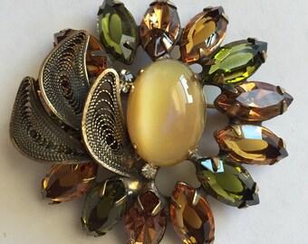 Vintage D & E Julianna  Amber Topaz and Peridot Color Rhinestone Pin Brooch