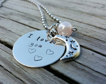 Hand Stamped Necklace - I Love You to the Moon and Back