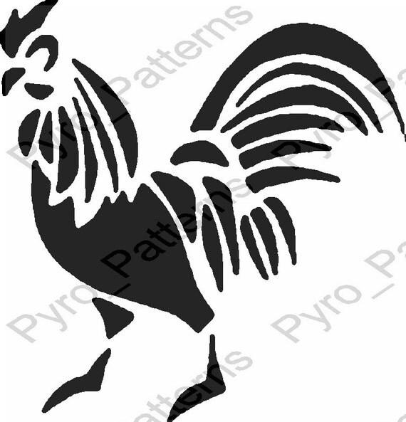 Pyrography Wood Burning Rooster Bird Pattern Printable
