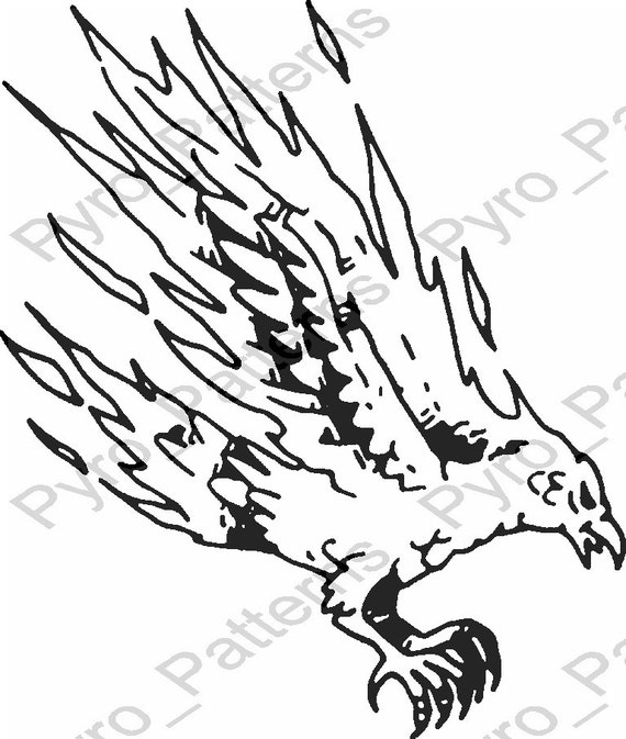 Pyrography wood burning flaming falcon bird pattern for Wood burning templates free download