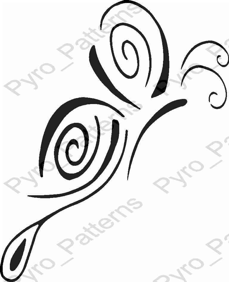 Pyrography Wood burning Butterfly Pattern Printable Stencil