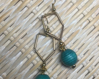 Handcrafted Gold Bead &Turquoise Wood Earrings