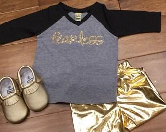 Fearless T shirt, Little Girls Fearless T shirt, Fearless T shirt, Fearless, Girls Glitter Shirt, Trendy Girls, Glitter Shirt,