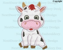 Cow embroidery applique design,  sitting cow farm machine embroidery,  cow-003