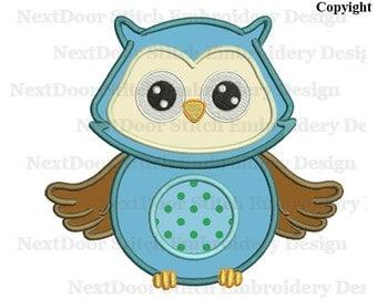 Owl machine embroidery applique design, blue boy hootin owls, owl-001