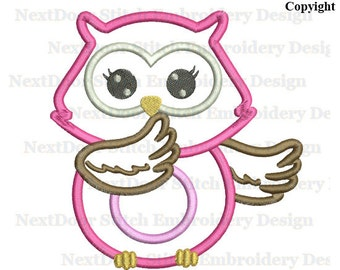 Owl applique design, girly pink hootin machine embroidery file download, owl-014