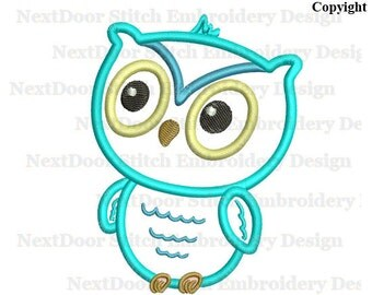 Owl embroidery design blue boy owl, kids owl,  machine embroidery applique download,  owl-050