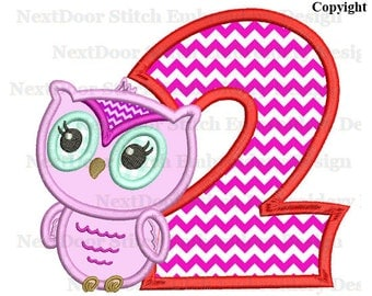 Owl embroidery design, cute girly owl 2nd birthday,  number 1 to 9 selection,  owl-052-2
