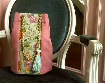 Bag pink purse and flowers