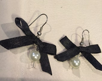 Gorgeous Pearl Bead and Ribbon Earrings