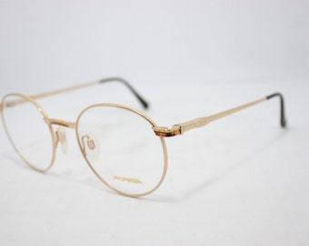Alpina Round AF473 Vintage eyeglasses Made in Germany Gold Havana 49mm