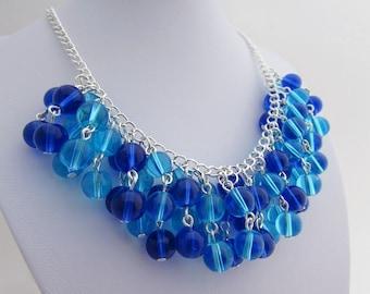 Aqua & Blue Cluster Necklace