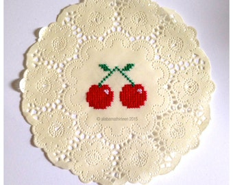 Cherry Cross Stitch Paper Doily - ONE OF A KIND