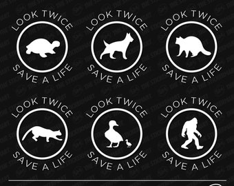 "Look Twice Save a Life Wildlife 3""x3.5"" Vinyl Decal (Choose an Animal)"