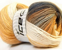 Ice Magic Light Yarn, 22027 Camel Yellow Grey White, Neutral color yarn, Self Striping yarn, Ombre yarn