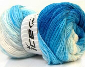 Ice Magic Light yarn, 22017 Blue Shades, Royal blue, Light Blue, White, Blue yarn, self striping yarn, boy yarn, afghan yarn