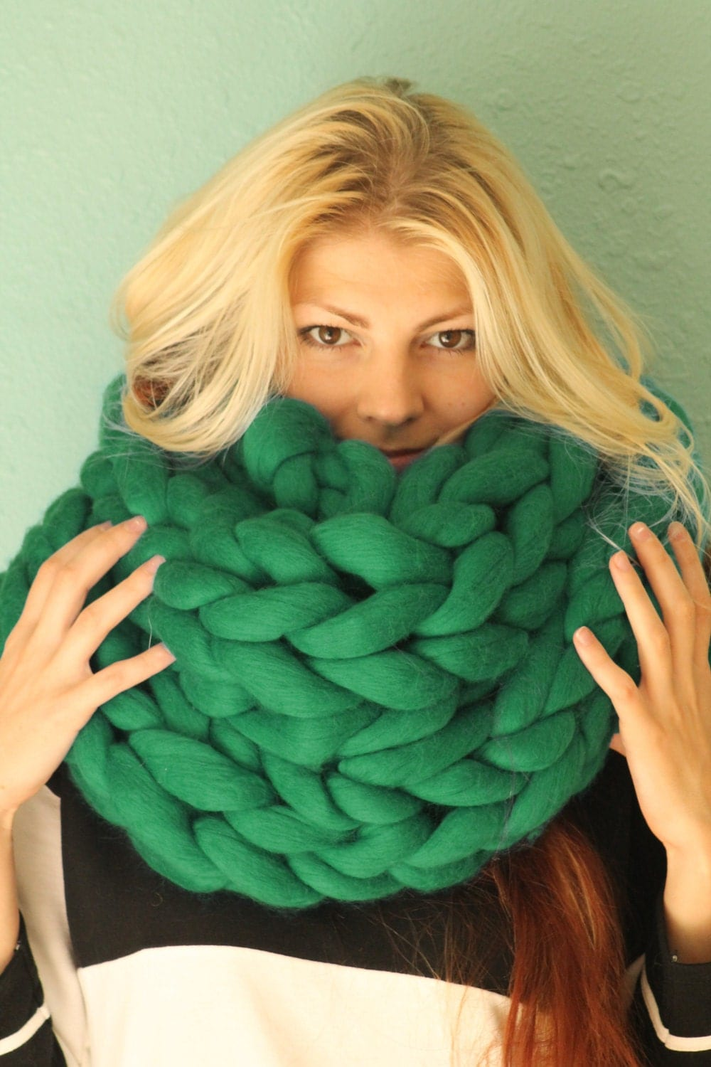 Knitting Chunky Scarves : Arm knitted chunky scarf by evoknit