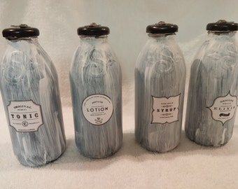 Distressed Vintage Apothecary Bottles with Repurposed Snapple Bottles **Set of Four**