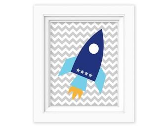 Printable Wall Art 8x10 Spaceship wall art, Boy Wall art, Nursery Art, Nursery decor, Toddler Boy, space shuttle