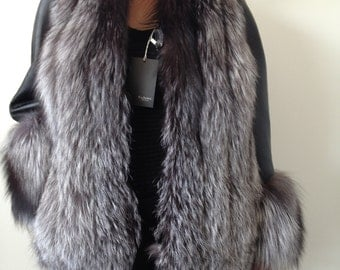 Jacket coat bolero of fur and silver fox genuine leather SILVER FOX