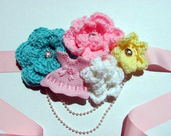 Maternity Sash Crochet / Maternity Baby Girl Belt / Pinl Flower Belt / Belt Crochet / Belt Flower Crochet
