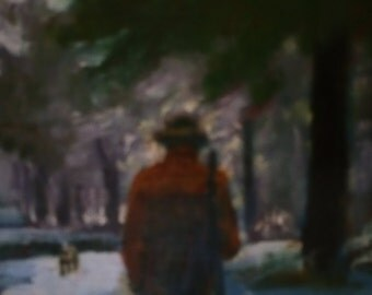 Original oil painting by Sandra Hicks Larson, hunting scene in snow,