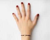 Eternity circle bracelet, brown bracelet, simple circle bracelet, positive bracelet, silver circle bracelet, string bracelet, favor bracelet