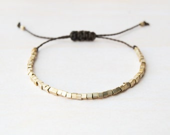 Gold square beads bracelet, thin bracelet, layering bracelet, minimalist bracelet, gold beads bracelet, stacking, stocking stuffer