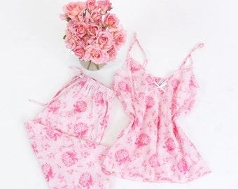 Bride Pyjamas and Bridesmaid PJ's. Floral Pj's ideal for hen parties and the night before your wedding. Bride Pyjamas UK