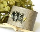 Rhinestone Owls on Pewter Leatherette Cuff Bracelet Adjustable