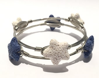 WIRED Starfish Silver Bangle Stack
