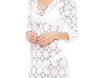 Crochet designer tunic PATTERN, detailed  tutorial for every row, trendy crochet tunic pattern, Melissa Odabash  tunic pattern