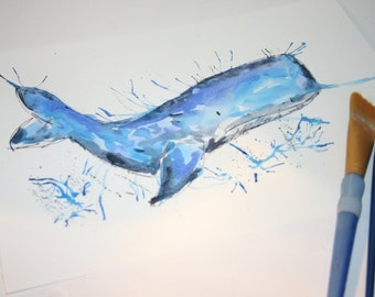 Whale Watercolour Whale Watercolour Painting Watercolour Animal Whale Illustration Whale Art