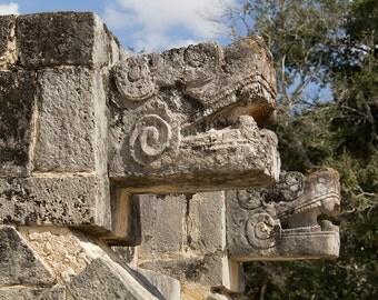 Instant Digital Photo Download - Mexico, Chichen Itza, Platform of Eagles and Jaguars, Ancient Mayan, Sculpture, Architecture, Stone Carving