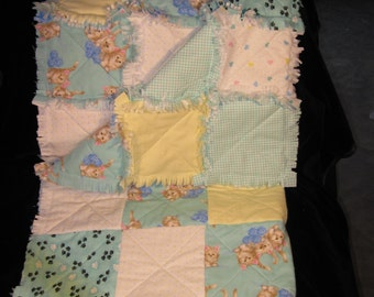 Baby Flannel Cuddle Quilt with Cats