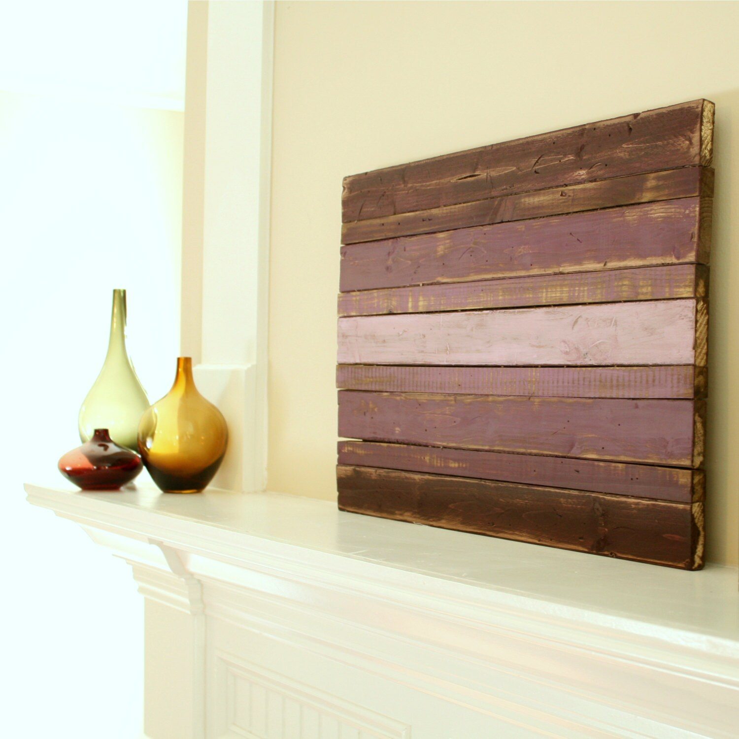Wood wall art wood decor ombre designs purple ombre - Purple ombre wall ...