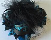 Turquoise Leopard Over The Top Hair Bow ,Over The Top Hair Bow , Over The Top Boutique Hair Bow ,Girls Hair Bows , OTT Hair Bow