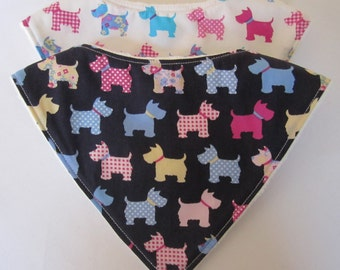Bandana Dribble Bibs with Scottie Dogs