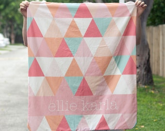 Triangle Name Quilt with Minky Backing