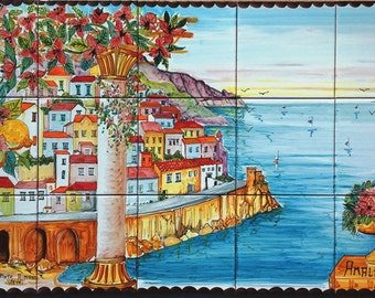 Hand Painted Tile Mural of the Amalfi Coast - Kitchen Ceramic Tiles - Backsplash Decor - Floral Accent Tiles - One of a Kind - Wall Mural