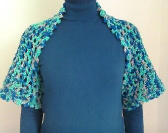 Crochet Shrug / Bolero Aqua, Blue and Grey