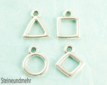 Set of 4 geometric pendant #3447 silver