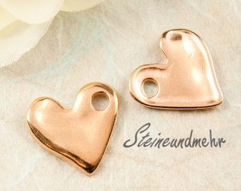 2 pcs. charm heart rosegold art.1459