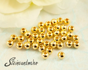 25 x beads 3mm gold plated art. 1705
