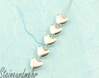 10 x beaded heart small 6mm silver plated art. 2761