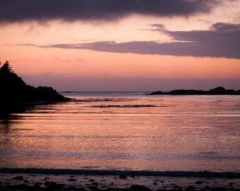 Sunset over Terrace Beach, Ucluelet, Vancouver Island, British Columbia, Canada. Art photo print.
