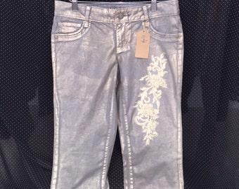 Lace embellished jeans
