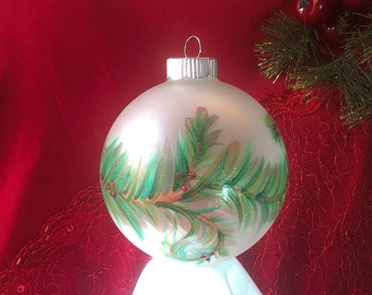 Green Garland Hand-painted Christmas Ornament -- Large Size