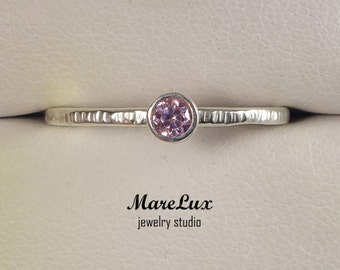Textured 3mm Pink Diamond Silver Ring, Light Pink Cubic Zirconia Stackable Ring CZ Sterling Hammered Pink Diamond Ring Engagement Ring